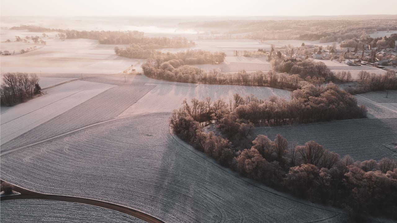 Foto: Raab, Felder mit Sonnenaufgang, Schnee